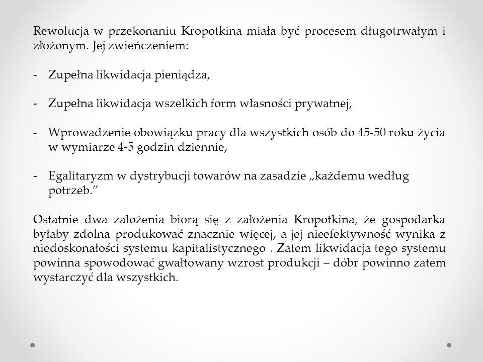 Rewolucja w przekonaniu Kropotkina miała być procesem długotrwałym i złożonym.