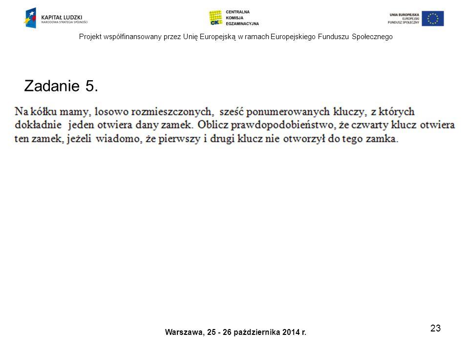 Projekt współfinansowany przez Unię Europejską w ramach Europejskiego Funduszu Społecznego Warszawa, 25 - 26 października 2014 r.