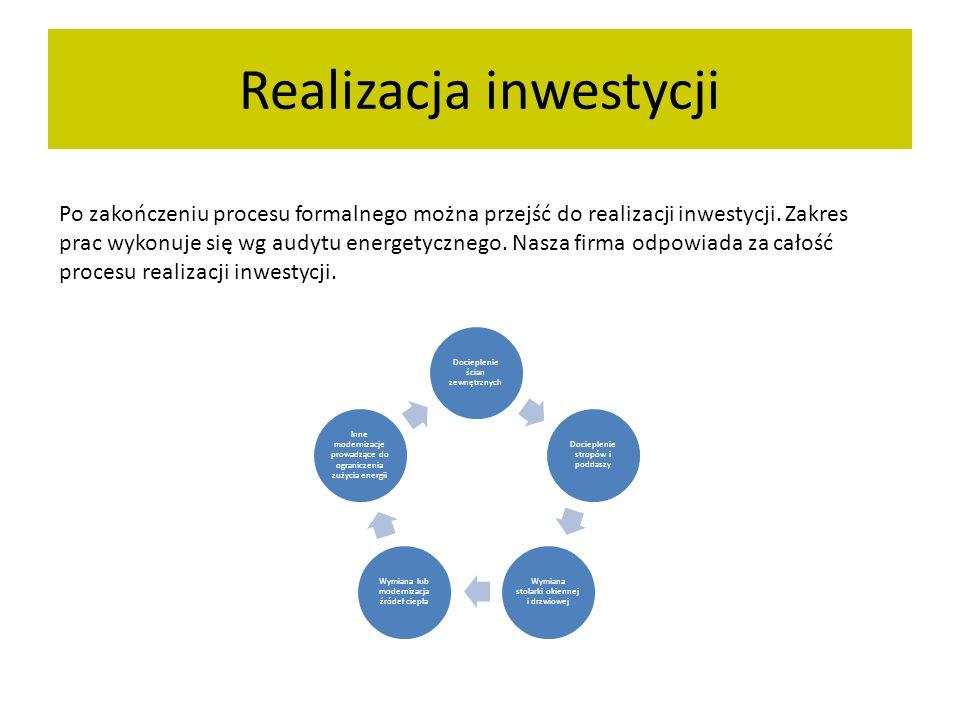 Realizacja inwestycji Po zakończeniu procesu formalnego można przejść do realizacji inwestycji. Zakres prac wykonuje się wg audytu energetycznego. Nas