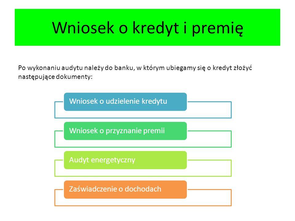 Wniosek o kredyt i premię Po wykonaniu audytu należy do banku, w którym ubiegamy się o kredyt złożyć następujące dokumenty: Wniosek o udzielenie kredytuWniosek o przyznanie premiiAudyt energetycznyZaświadczenie o dochodach