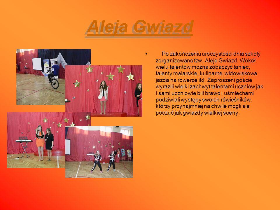 Aleja Gwiazd Aleja Gwiazd Po zakończeniu uroczystości dnia szkoły zorganizowano tzw. Aleje Gwiazd. Wokół wielu talentów można zobaczyć taniec, talenty