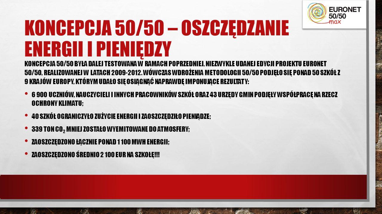 KONCEPCJA 50/50 – OSZCZĘDZANIE ENERGII I PIENIĘDZY KONCEPCJA 50/50 BYŁA DALEJ TESTOWANA W RAMACH POPRZEDNIEJ, NIEZWYKLE UDANEJ EDYCJI PROJEKTU EURONET 50/50, REALIZOWANEJ W LATACH 2009-2012.
