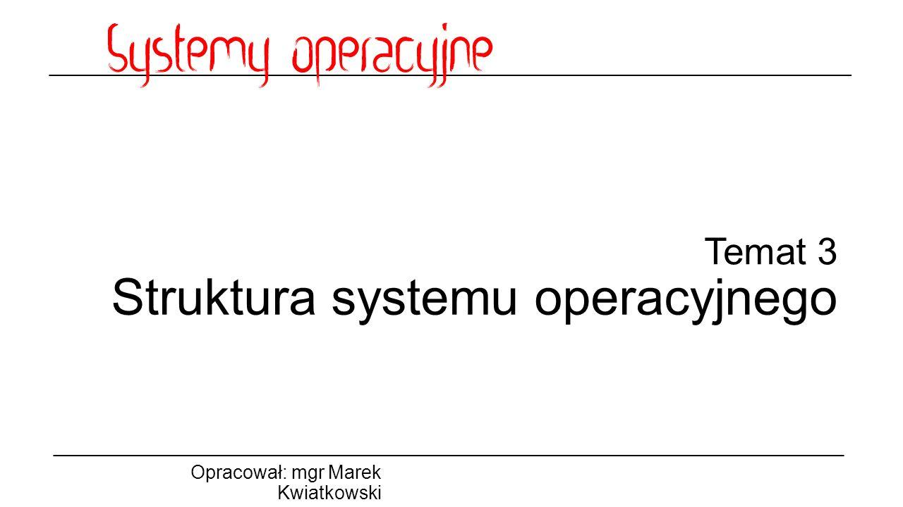 Temat 3 Struktura systemu operacyjnego Opracował: mgr Marek Kwiatkowski