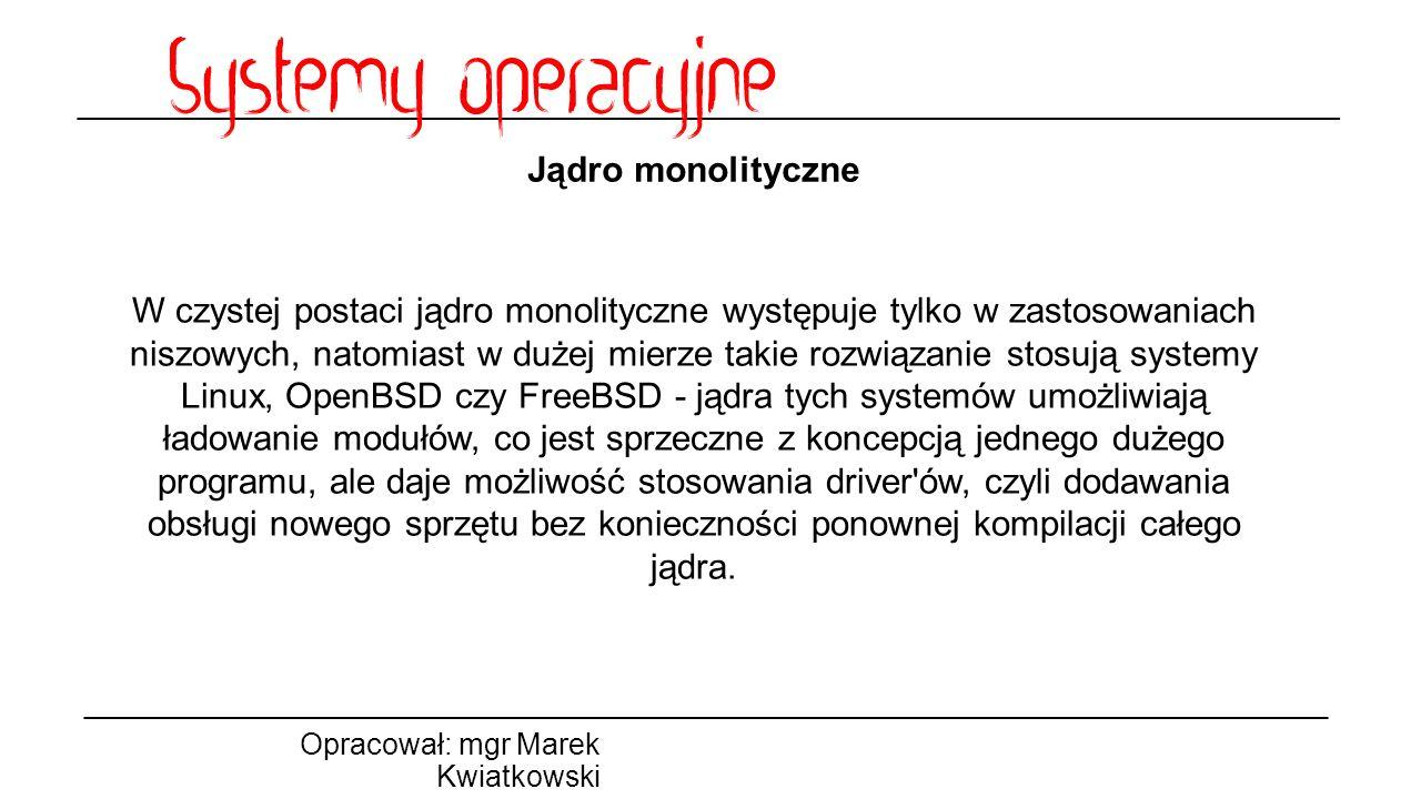 Jądro monolityczne Opracował: mgr Marek Kwiatkowski W czystej postaci jądro monolityczne występuje tylko w zastosowaniach niszowych, natomiast w dużej