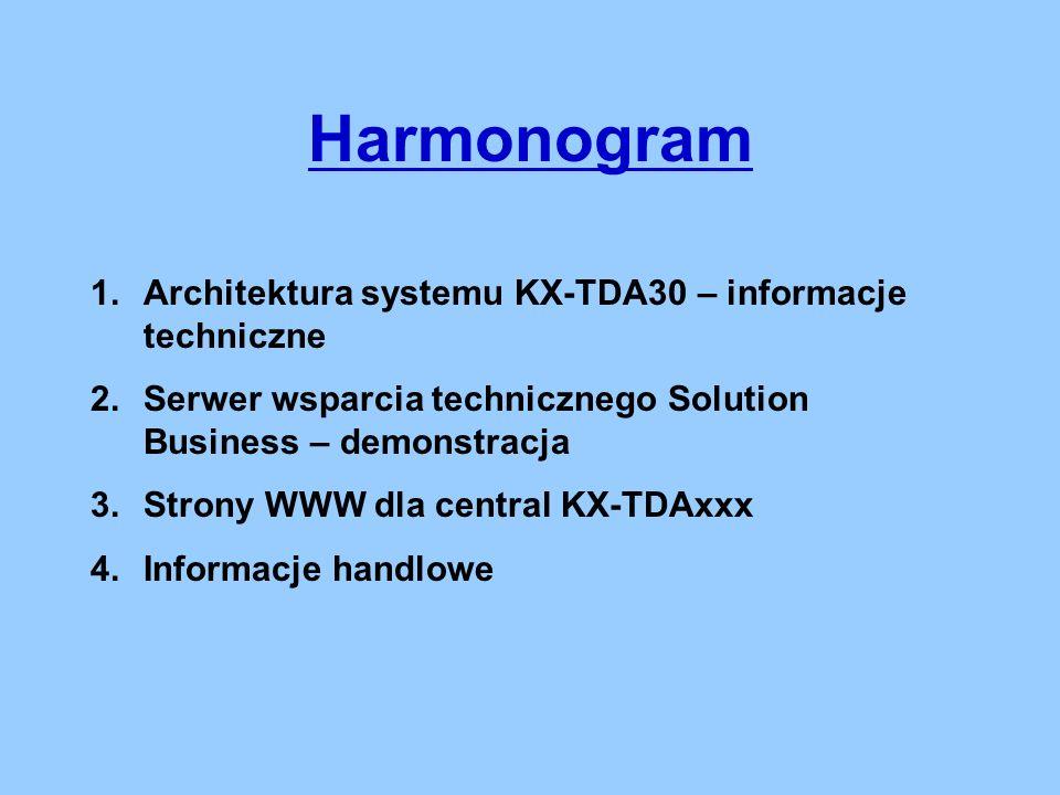Harmonogram 1.Architektura systemu KX-TDA30 – informacje techniczne 2.Serwer wsparcia technicznego Solution Business – demonstracja 3.Strony WWW dla central KX-TDAxxx 4.Informacje handlowe