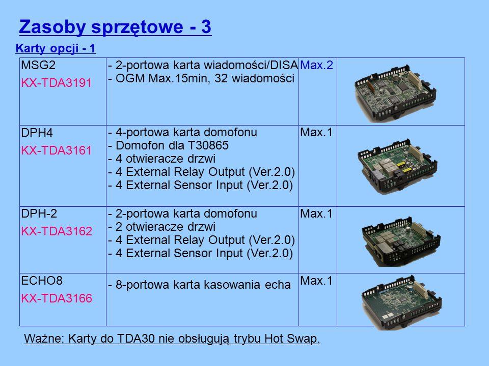 MSG2 KX-TDA3191 Karty opcji - 1 - 2-portowa karta wiadomości/DISA - OGM Max.15min, 32 wiadomości Max.2 DPH4 KX-TDA3161 - 4-portowa karta domofonu - Domofon dla T30865 - 4 otwieracze drzwi - 4 External Relay Output (Ver.2.0) - 4 External Sensor Input (Ver.2.0) Max.1 ECHO8 KX-TDA3166 - 8-portowa karta kasowania echa Max.1 Ważne: Karty do TDA30 nie obsługują trybu Hot Swap.