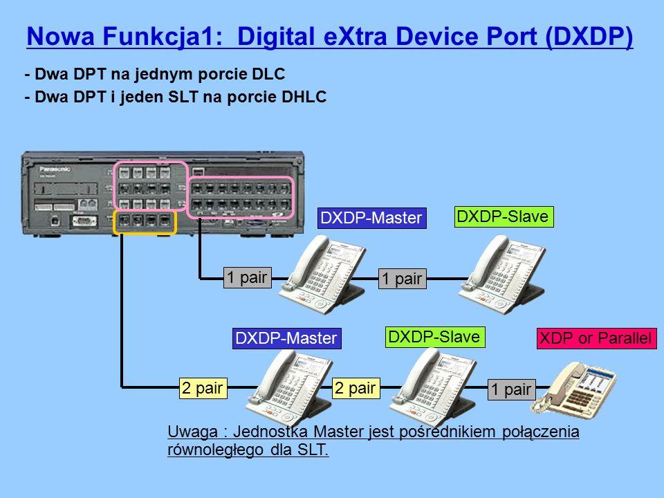 - Dwa DPT na jednym porcie DLC - Dwa DPT i jeden SLT na porcie DHLC 1 pair DXDP-Slave Nowa Funkcja1: Digital eXtra Device Port (DXDP) DXDP-Master 1 pair 2 pair 1 pair DXDP-Slave XDP or ParallelDXDP-Master Uwaga : Jednostka Master jest pośrednikiem połączenia równoległego dla SLT.