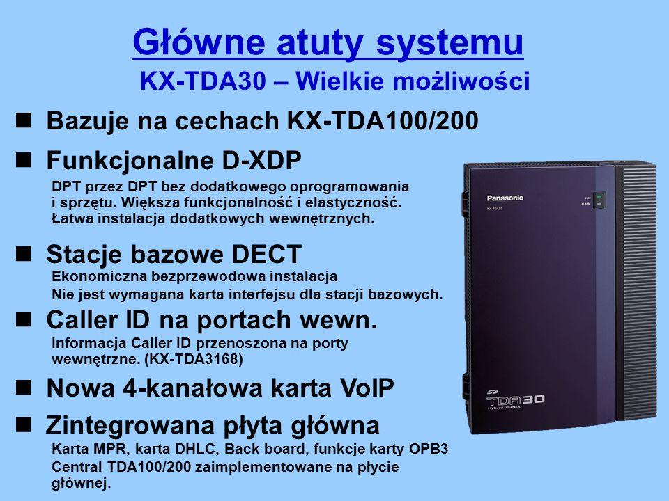 Główne atuty systemu KX-TDA30 – Wielkie możliwości Bazuje na cechach KX-TDA100/200 Stacje bazowe DECT Caller ID na portach wewn.