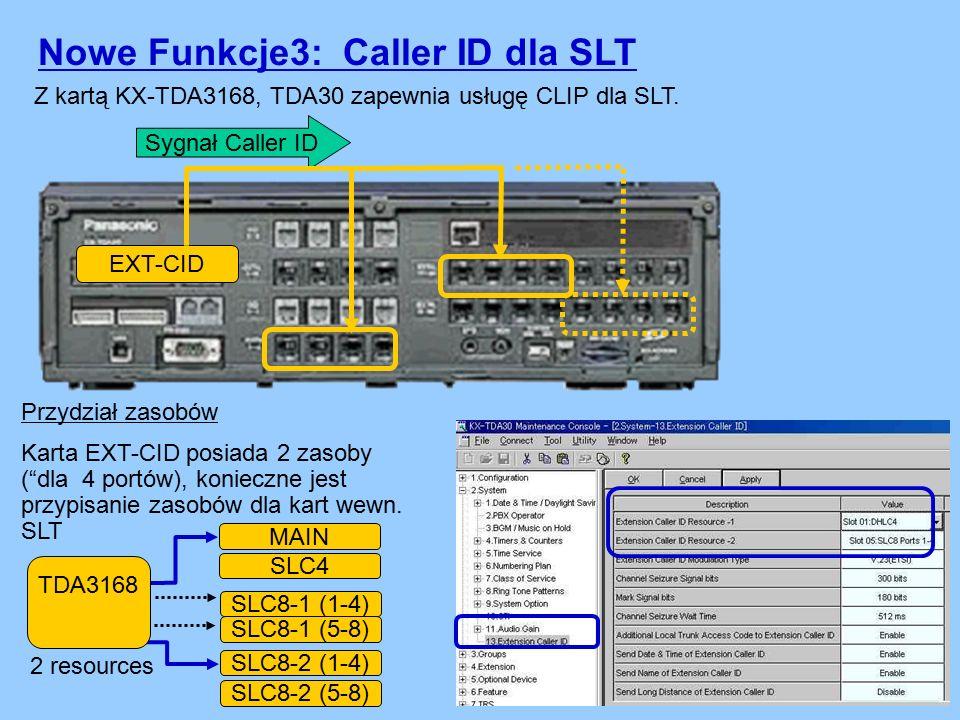 Sygnał Caller ID Z kartą KX-TDA3168, TDA30 zapewnia usługę CLIP dla SLT.