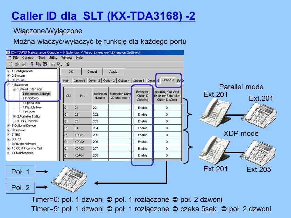 Caller ID dla SLT (KX-TDA3168) -2 Włączone/Wyłączone Można włączyć/wyłączyć tę funkcję dla każdego portu Parallel mode Ext.201 XDP mode Ext.201 Ext.205 Poł.