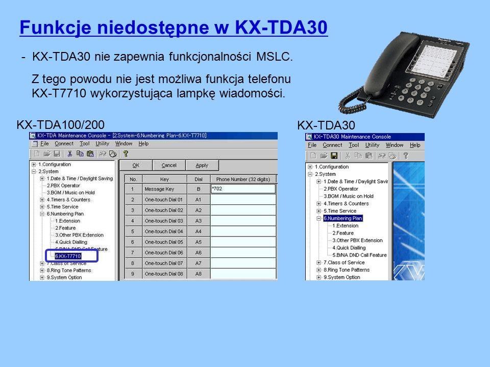 Funkcje niedostępne w KX-TDA30 - KX-TDA30 nie zapewnia funkcjonalności MSLC.