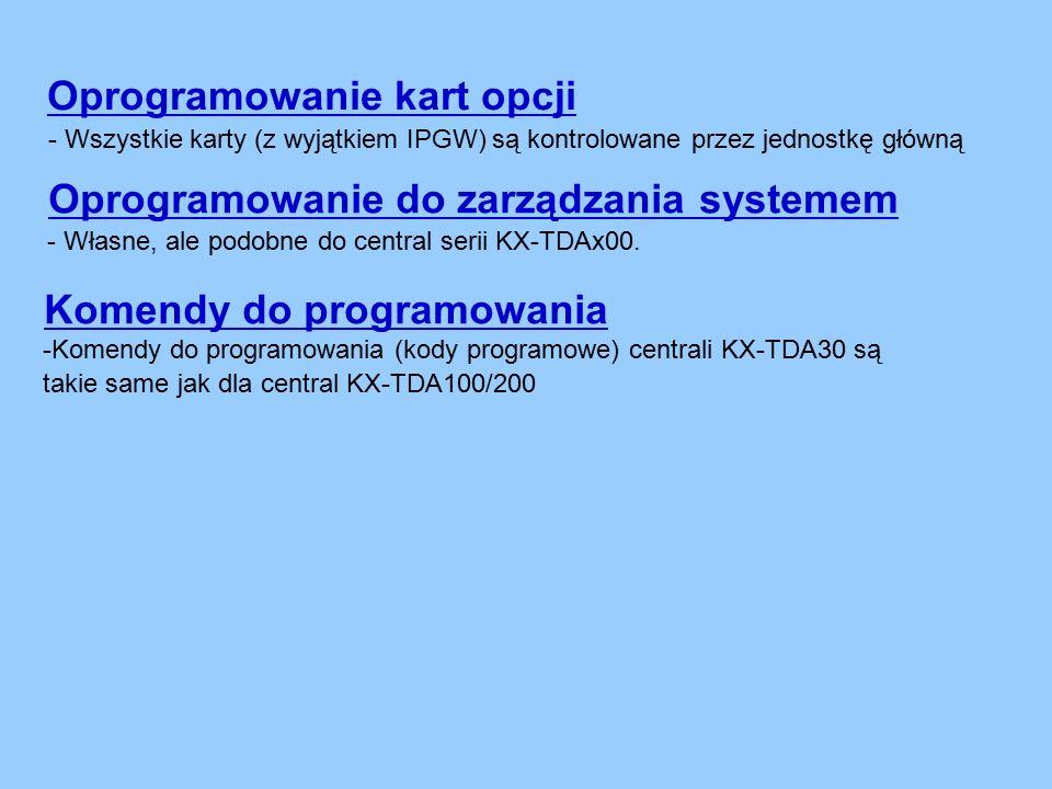 Oprogramowanie do zarządzania systemem Oprogramowanie kart opcji - Wszystkie karty (z wyjątkiem IPGW) są kontrolowane przez jednostkę główną - Własne, ale podobne do central serii KX-TDAx00.