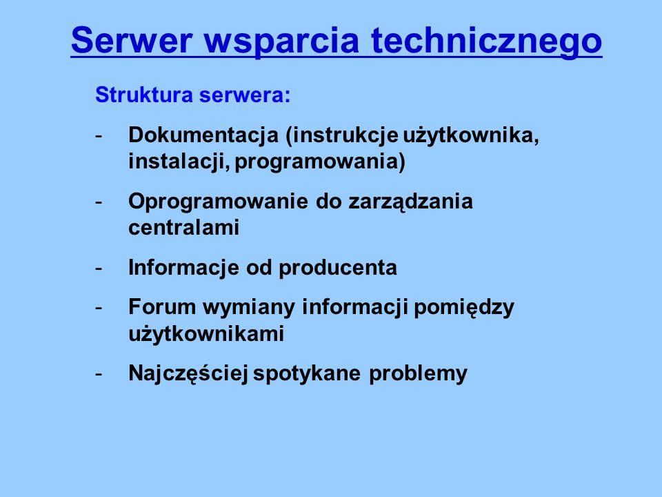 Struktura serwera: -Dokumentacja (instrukcje użytkownika, instalacji, programowania) -Oprogramowanie do zarządzania centralami -Informacje od producenta -Forum wymiany informacji pomiędzy użytkownikami -Najczęściej spotykane problemy