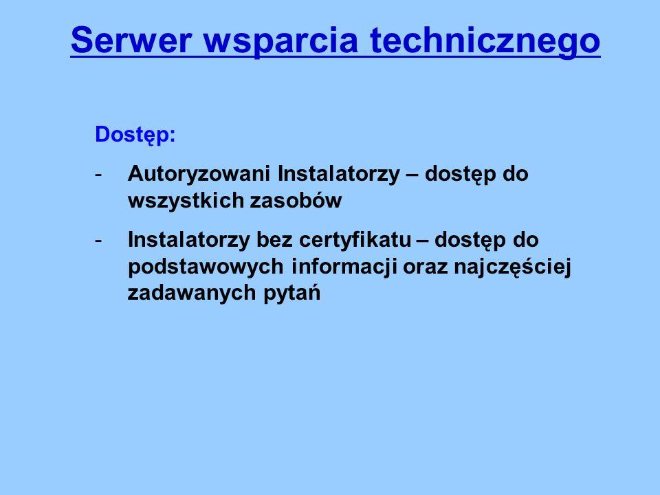 Serwer wsparcia technicznego Dostęp: -Autoryzowani Instalatorzy – dostęp do wszystkich zasobów -Instalatorzy bez certyfikatu – dostęp do podstawowych informacji oraz najczęściej zadawanych pytań