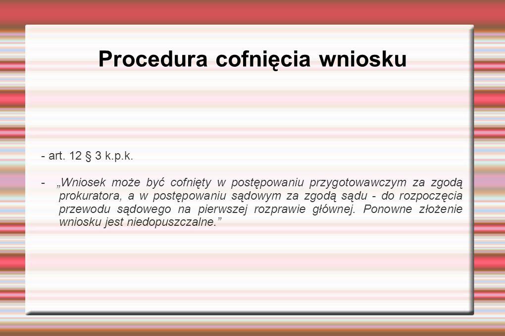 Procedura cofnięcia wniosku - art. 12 § 3 k.p.k.