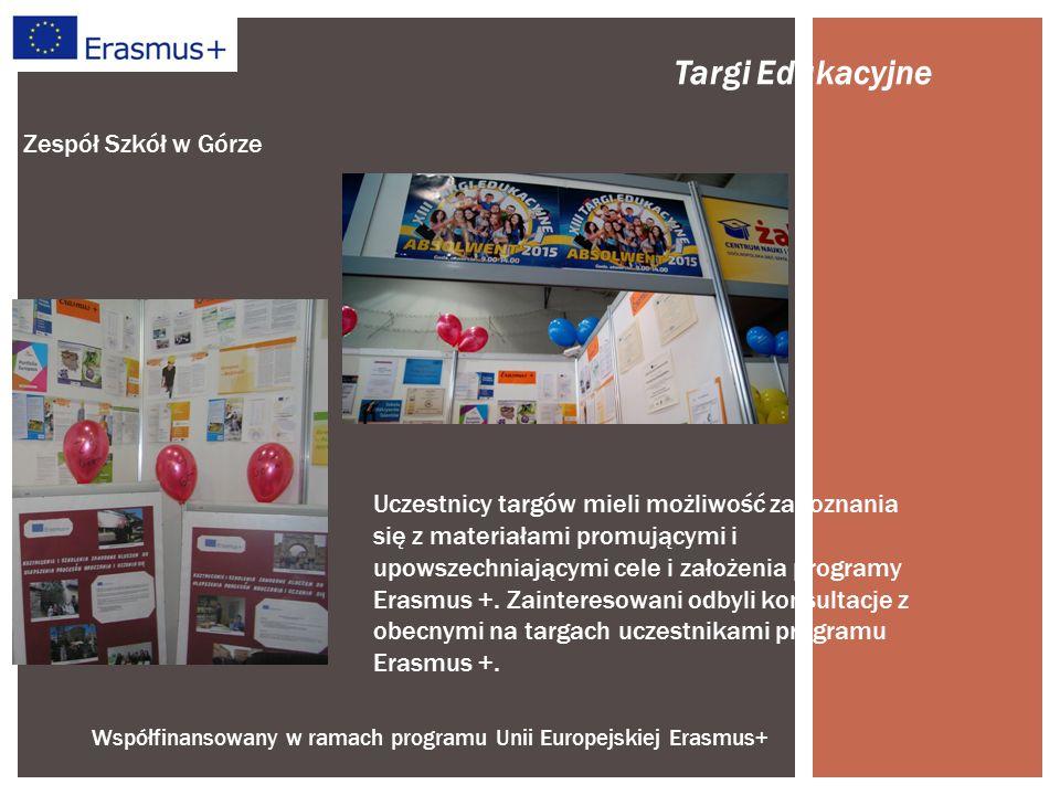 Współfinansowany w ramach programu Unii Europejskiej Erasmus+ Zespół Szkół w Górze Targi Edukacyjne Uczestnicy targów mieli możliwość zapoznania się z materiałami promującymi i upowszechniającymi cele i założenia programy Erasmus +.