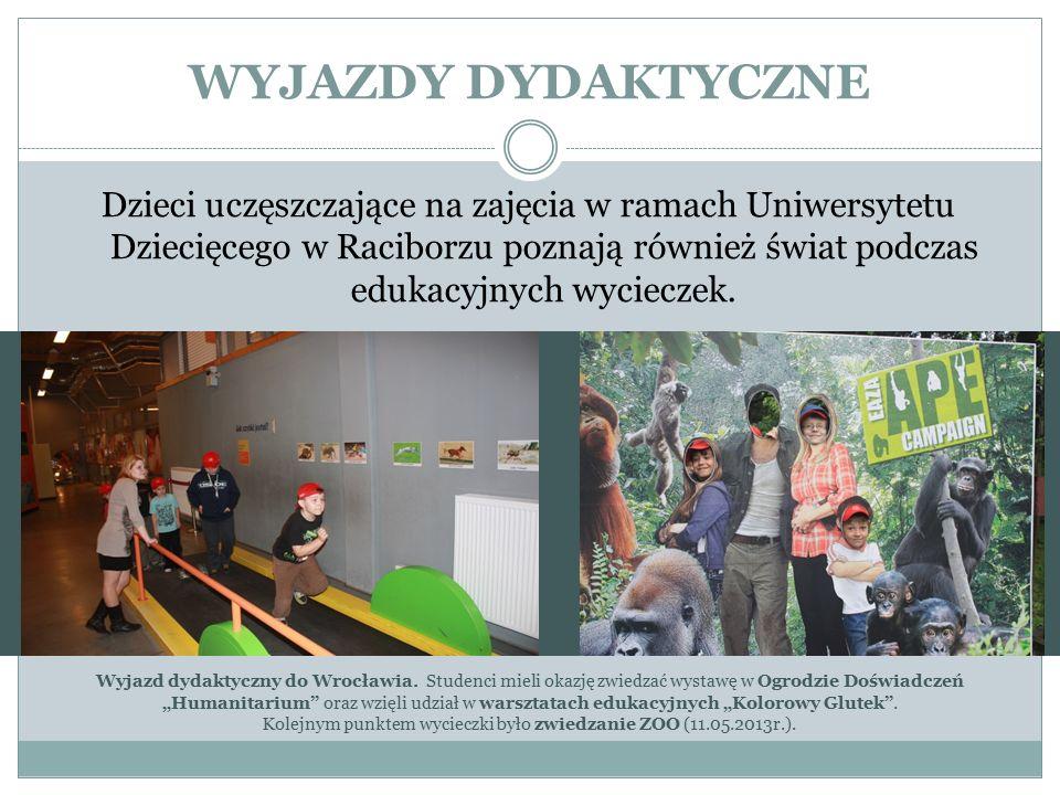 WYJAZDY DYDAKTYCZNE Dzieci uczęszczające na zajęcia w ramach Uniwersytetu Dziecięcego w Raciborzu poznają również świat podczas edukacyjnych wycieczek