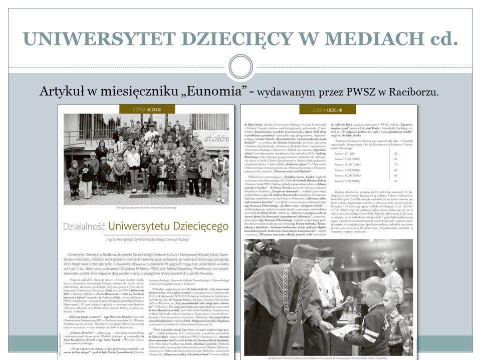"""UNIWERSYTET DZIECIĘCY W MEDIACH cd. Artykuł w miesięczniku """"Eunomia"""" - wydawanym przez PWSZ w Raciborzu."""