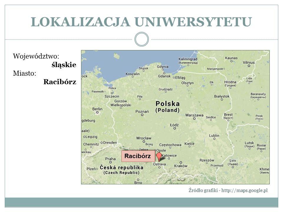 LOKALIZACJA UNIWERSYTETU Województwo: śląskie Miasto: Racibórz Źródło grafiki - http://maps.google.pl Racibórz
