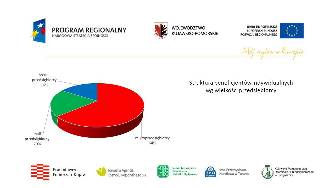 Struktura beneficjentów indywidualnych wg wielkości przedsiębiorcy