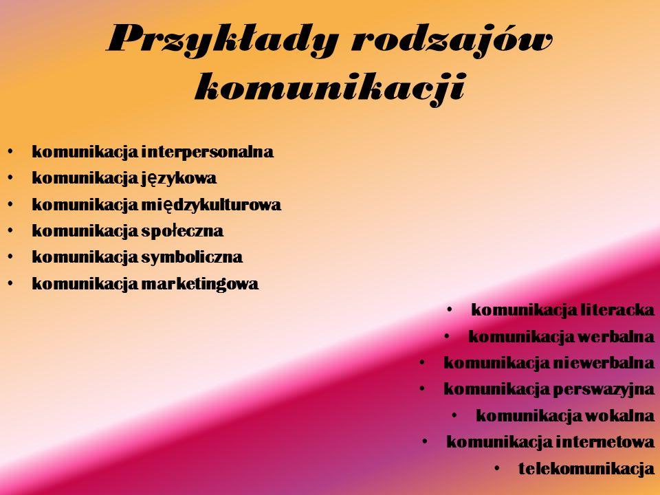 Przykłady rodzajów komunikacji komunikacja interpersonalna komunikacja j ę zykowa komunikacja mi ę dzykulturowa komunikacja spo ł eczna komunikacja sy