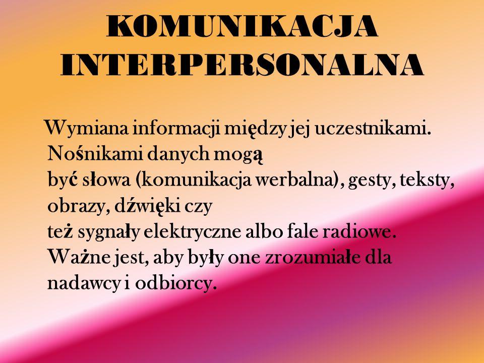 KOMUNIKACJA INTERPERSONALNA Wymiana informacji mi ę dzy jej uczestnikami. No ś nikami danych mog ą by ć s ł owa (komunikacja werbalna), gesty, teksty,