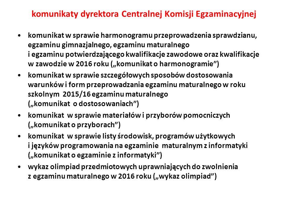 komunikaty dyrektora Centralnej Komisji Egzaminacyjnej komunikat w sprawie harmonogramu przeprowadzenia sprawdzianu, egzaminu gimnazjalnego, egzaminu