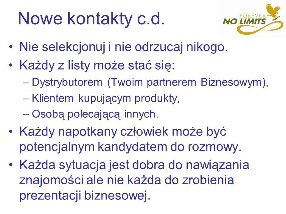 Nowe kontakty c.d. Nie selekcjonuj i nie odrzucaj nikogo. Każdy z listy może stać się: –Dystrybutorem (Twoim partnerem Biznesowym), –Klientem kupujący