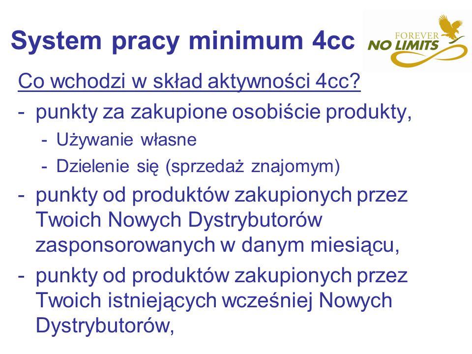 System pracy minimum 4cc Co wchodzi w skład aktywności 4cc? -punkty za zakupione osobiście produkty, -Używanie własne -Dzielenie się (sprzedaż znajomy