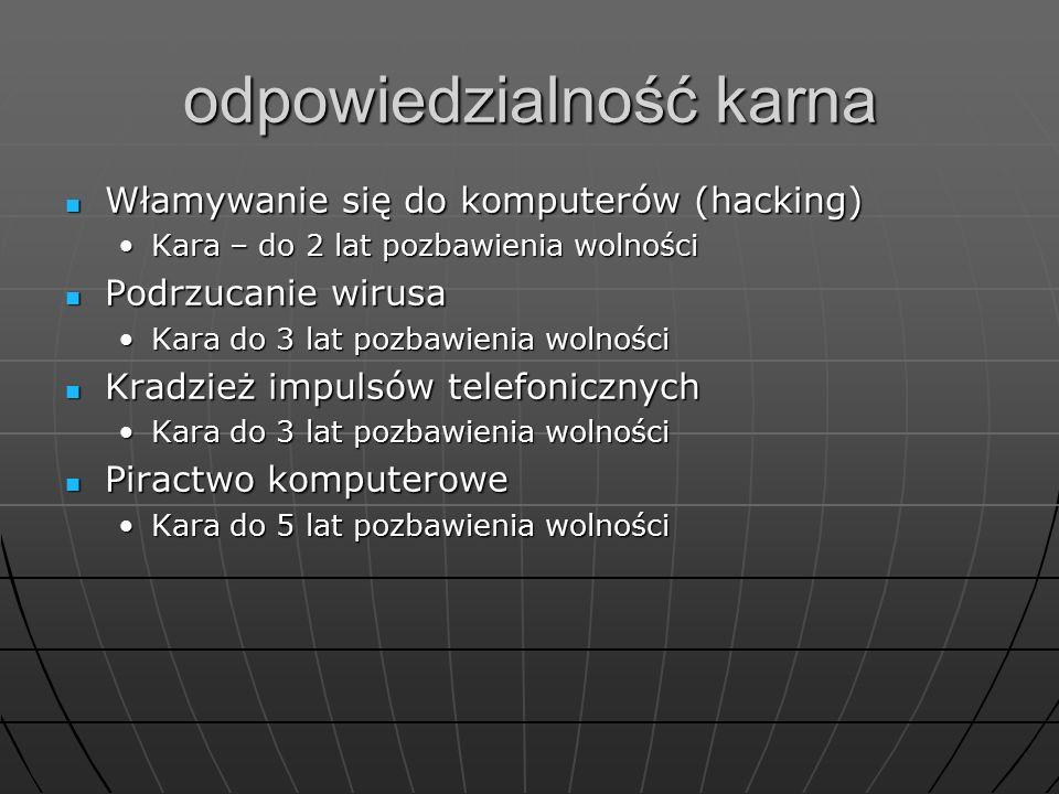 odpowiedzialność karna Włamywanie się do komputerów (hacking) Włamywanie się do komputerów (hacking) Kara – do 2 lat pozbawienia wolności Podrzucanie