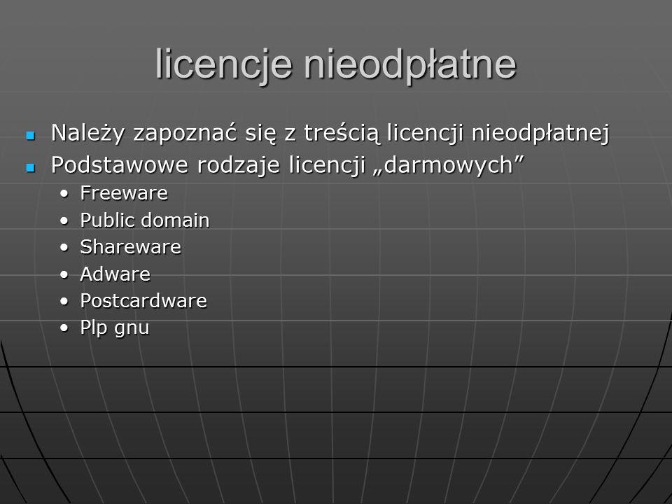 licencje nieodpłatne Należy zapoznać się z treścią licencji nieodpłatnej Należy zapoznać się z treścią licencji nieodpłatnej Podstawowe rodzaje licenc