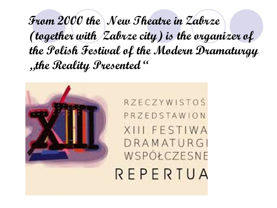 "From 2000 the New Theatre in Zabrze (together with Zabrze city) is the organizer of the Polish Festival of the Modern Dramaturgy ""the Reality Presented"