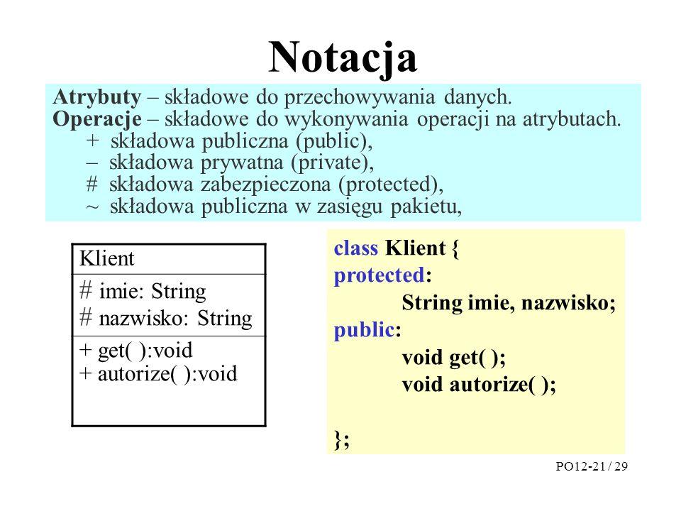 Notacja Atrybuty – składowe do przechowywania danych.