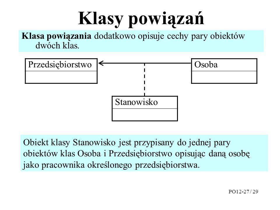 Klasy powiązań Przedsiębiorstwo Osoba PO12-27 / 29 Klasa powiązania dodatkowo opisuje cechy pary obiektów dwóch klas.