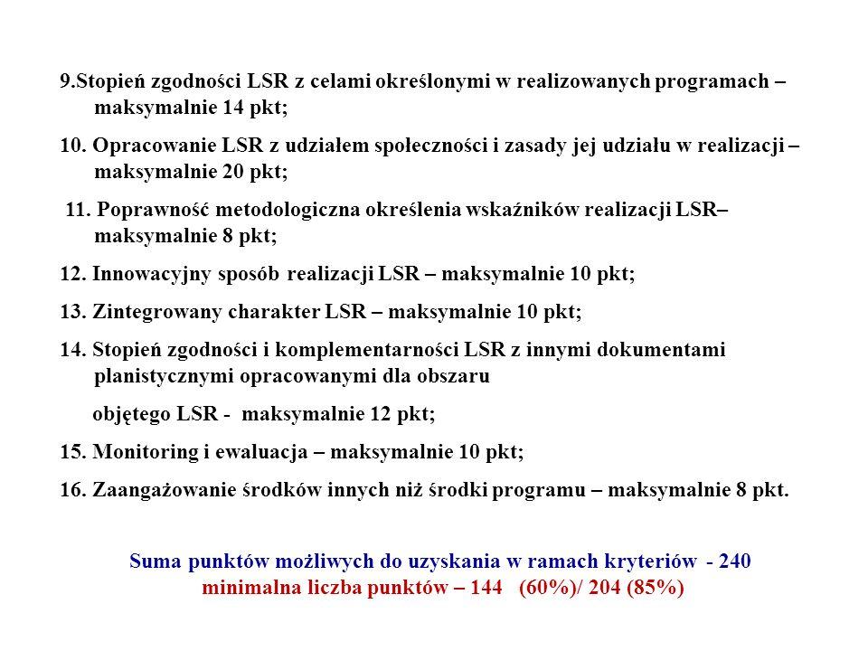 9.Stopień zgodności LSR z celami określonymi w realizowanych programach – maksymalnie 14 pkt; 10. Opracowanie LSR z udziałem społeczności i zasady jej