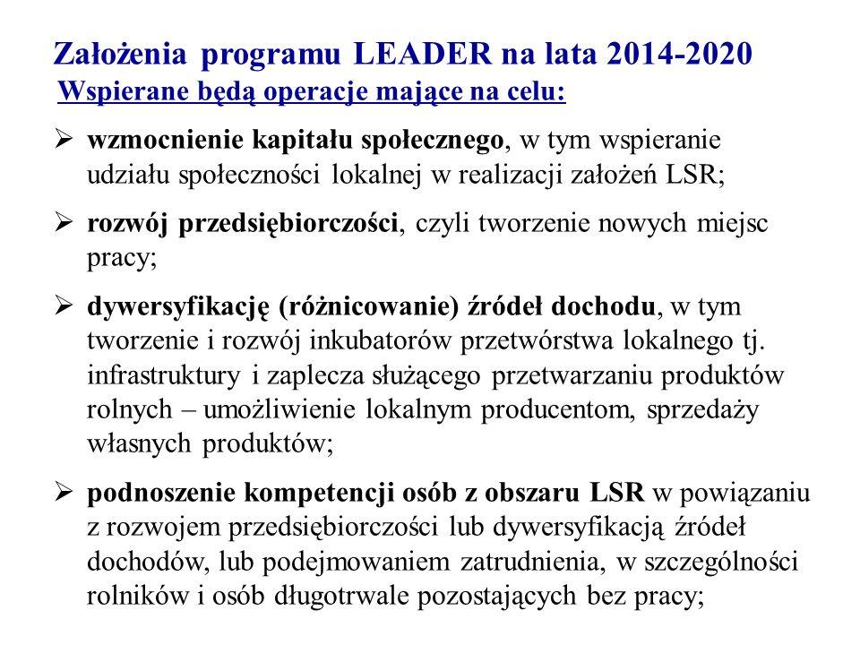 Założenia programu LEADER na lata 2014-2020 Wspierane będą operacje mające na celu:  wzmocnienie kapitału społecznego, w tym wspieranie udziału społeczności lokalnej w realizacji założeń LSR;  rozwój przedsiębiorczości, czyli tworzenie nowych miejsc pracy;  dywersyfikację (różnicowanie) źródeł dochodu, w tym tworzenie i rozwój inkubatorów przetwórstwa lokalnego tj.