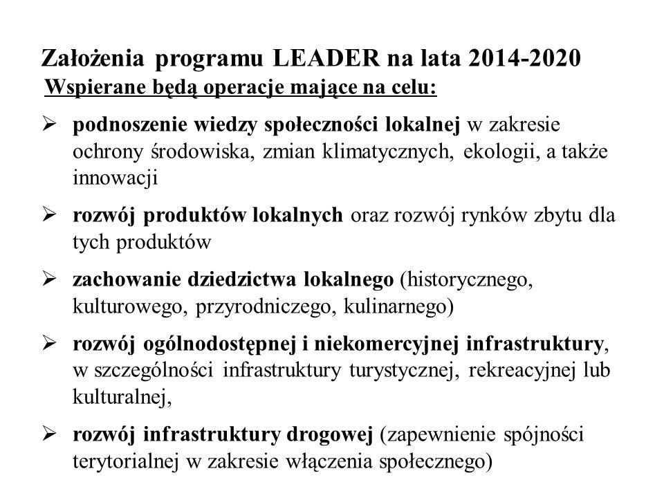 Założenia programu LEADER na lata 2014-2020 Wspierane będą operacje mające na celu:  podnoszenie wiedzy społeczności lokalnej w zakresie ochrony środ