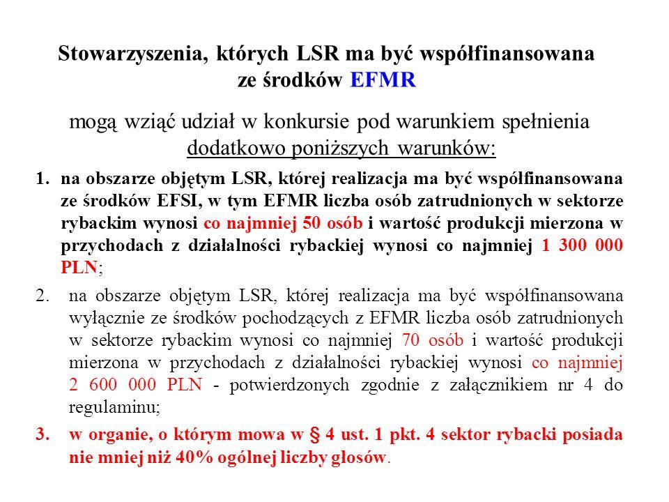Stowarzyszenia, których LSR ma być współfinansowana ze środków EFMR mogą wziąć udział w konkursie pod warunkiem spełnienia dodatkowo poniższych warunk