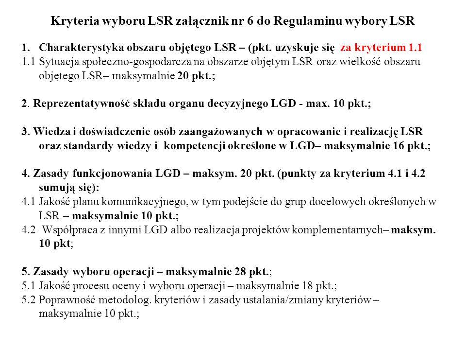 Kryteria wyboru LSR załącznik nr 6 do Regulaminu wybory LSR 1.Charakterystyka obszaru objętego LSR – (pkt. uzyskuje się za kryterium 1.1 1.1 Sytuacja