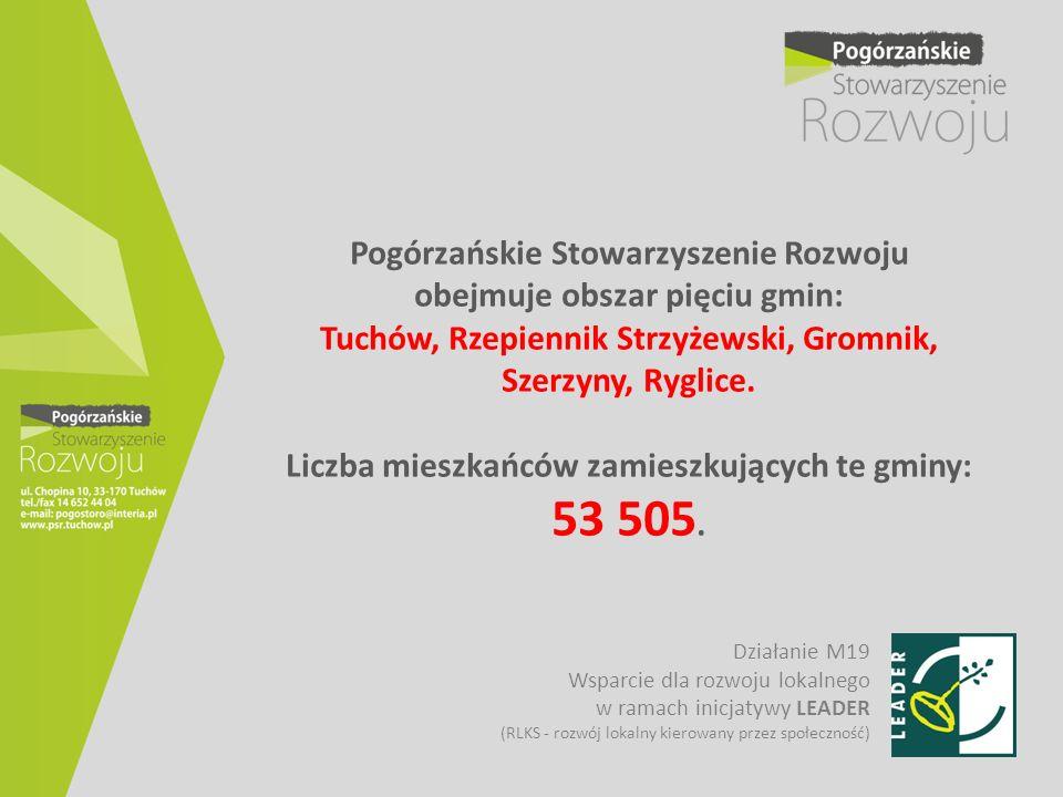 Pogórzańskie Stowarzyszenie Rozwoju obejmuje obszar pięciu gmin: Tuchów, Rzepiennik Strzyżewski, Gromnik, Szerzyny, Ryglice. Liczba mieszkańców zamies