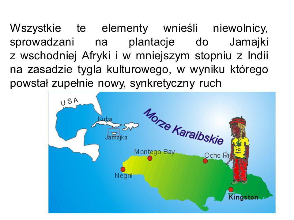 Wszystkie te elementy wnieśli niewolnicy, sprowadzani na plantacje do Jamajki z wschodniej Afryki i w mniejszym stopniu z Indii na zasadzie tygla kult