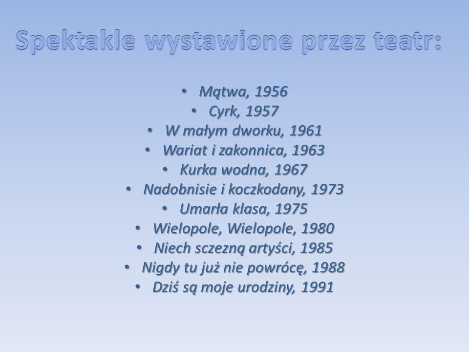 Mątwa, 1956 Mątwa, 1956 Cyrk, 1957 Cyrk, 1957 W małym dworku, 1961 W małym dworku, 1961 Wariat i zakonnica, 1963 Wariat i zakonnica, 1963 Kurka wodna,