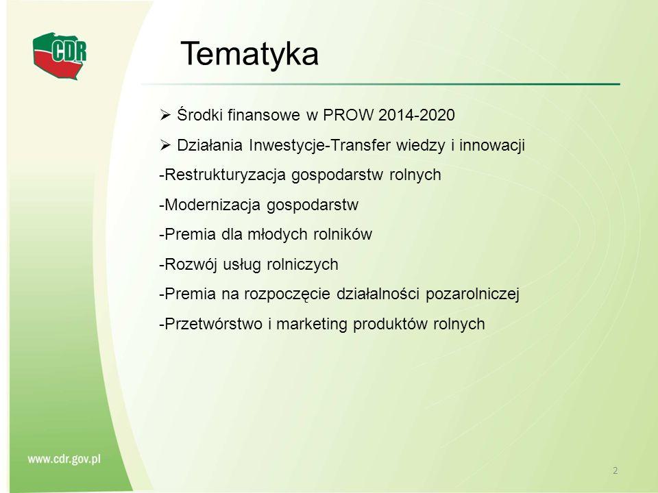 2 Tematyka  Środki finansowe w PROW 2014-2020  Działania Inwestycje-Transfer wiedzy i innowacji -Restrukturyzacja gospodarstw rolnych -Modernizacja