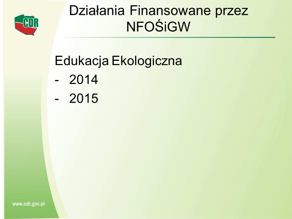 Działania Finansowane przez NFOŚiGW Edukacja Ekologiczna -2014 -2015