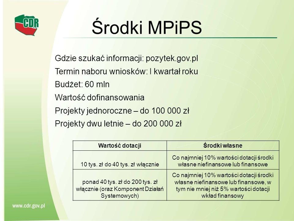 Środki MPiPS Gdzie szukać informacji: pozytek.gov.pl Termin naboru wniosków: I kwartał roku Budżet: 60 mln Wartość dofinansowania Projekty jednoroczne