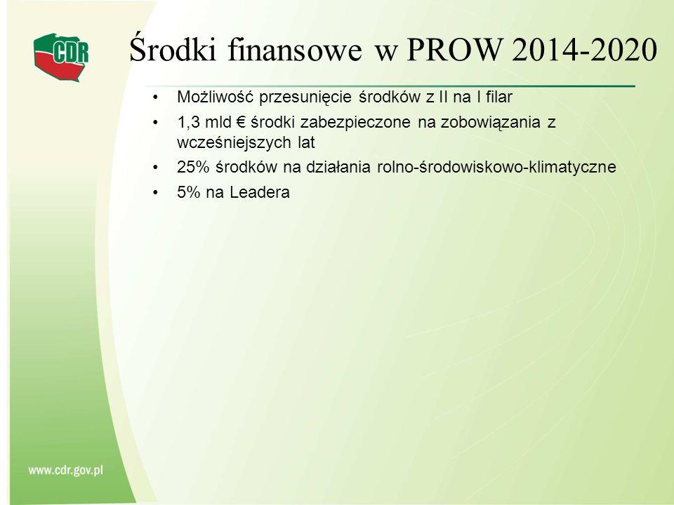 Środki finansowe w PROW 2014-2020 Możliwość przesunięcie środków z II na I filar 1,3 mld € środki zabezpieczone na zobowiązania z wcześniejszych lat 2