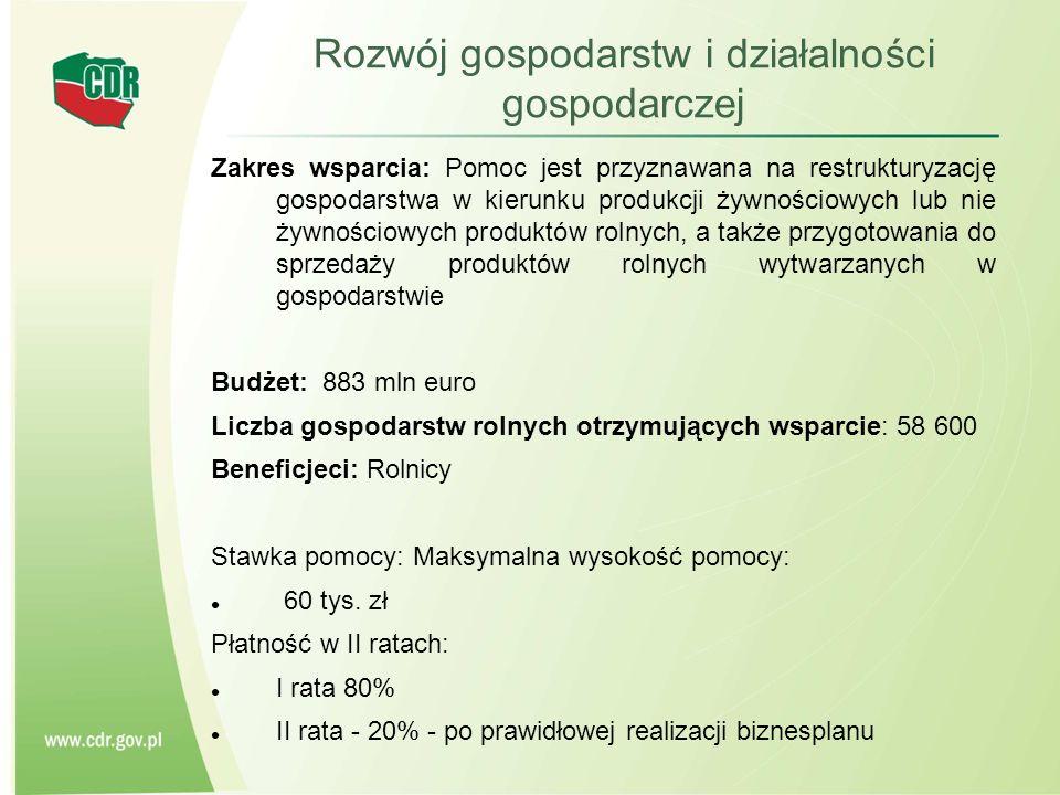 Rozwój gospodarstw i działalności gospodarczej Zakres wsparcia: Pomoc jest przyznawana na restrukturyzację gospodarstwa w kierunku produkcji żywnościo
