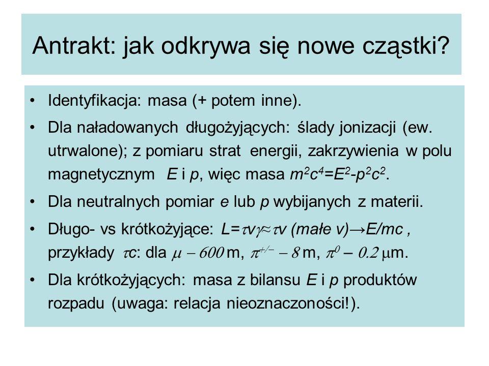 Antrakt: jak odkrywa się nowe cząstki? Identyfikacja: masa (+ potem inne). Dla naładowanych długożyjących: ślady jonizacji (ew. utrwalone); z pomiaru