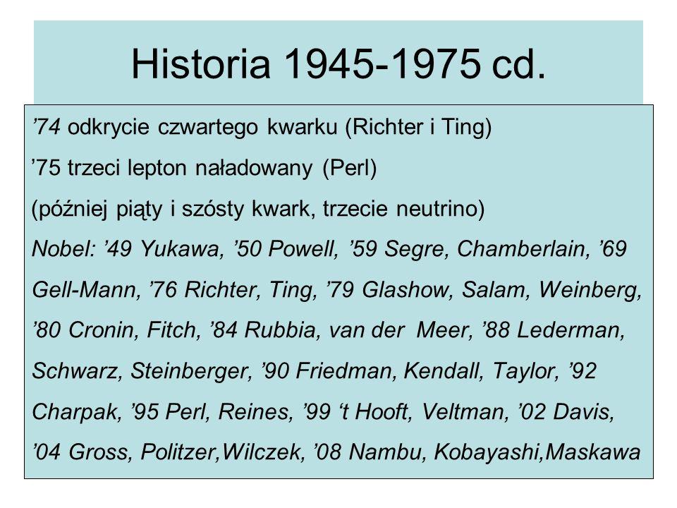 Historia 1945-1975 cd. '74 odkrycie czwartego kwarku (Richter i Ting) '75 trzeci lepton naładowany (Perl) (później piąty i szósty kwark, trzecie neutr