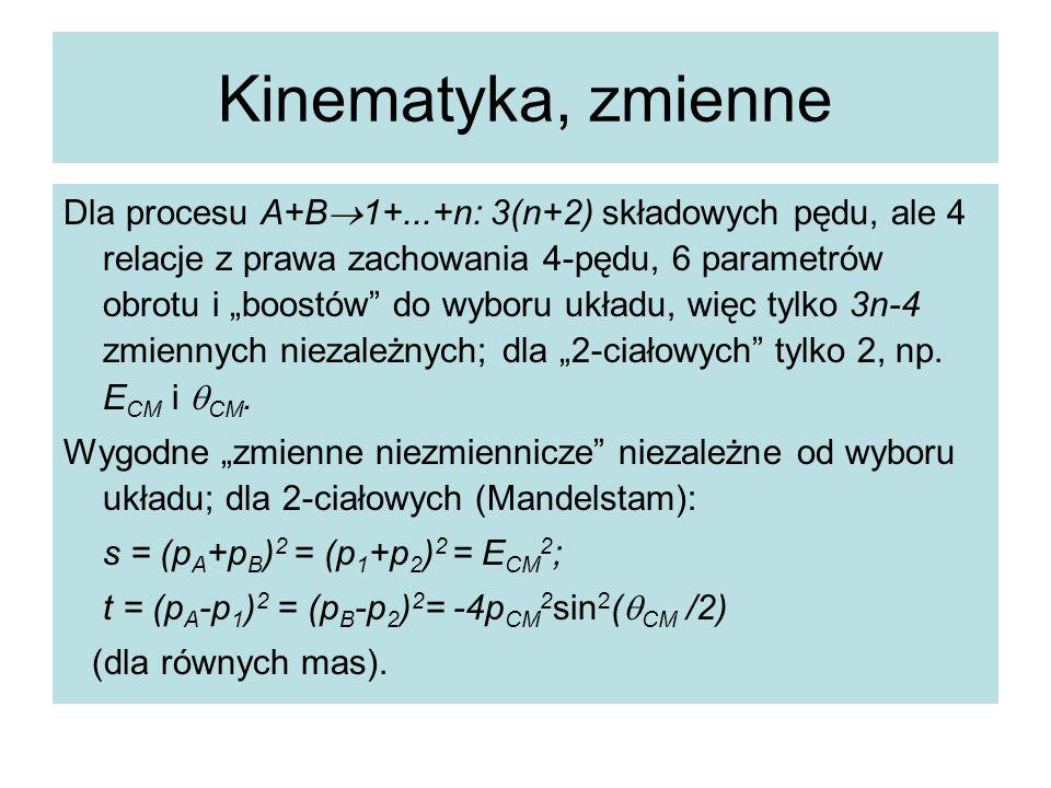 """Kinematyka, zmienne Dla procesu A+B  1+...+n: 3(n+2) składowych pędu, ale 4 relacje z prawa zachowania 4-pędu, 6 parametrów obrotu i """"boostów"""" do wyb"""